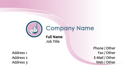 Pink and White Mop Business Card Template